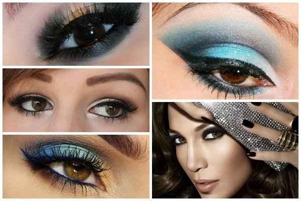 Коричневый свадебный макияж для карих глаз