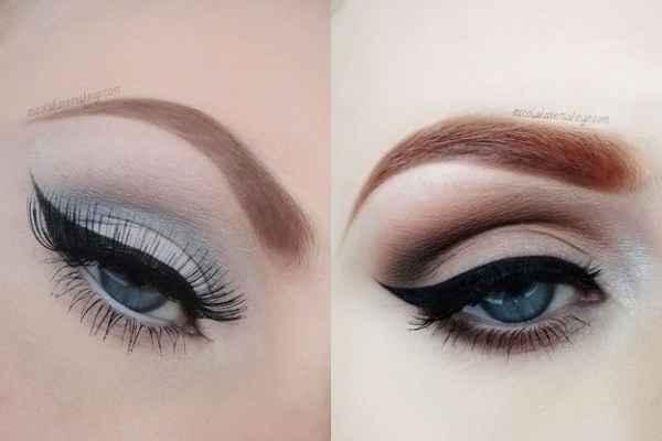 Макияж для голубых глаз и русых волос и синее платье пошагово фото