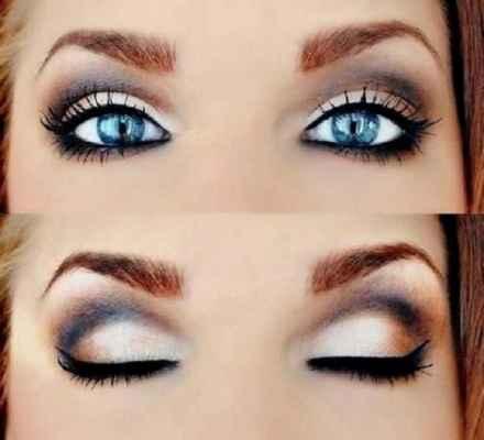 Идеи вечернего макияжа для голубых глаз фото