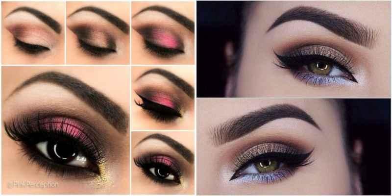 Бордовый макияж для карих глаз