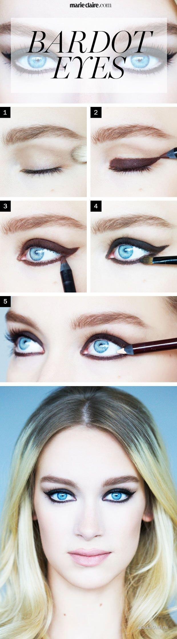 Макияж для голубых глаз блондинки фото поэтапно