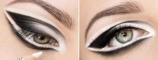 Макияжа глаз с белым карандашом для глаз