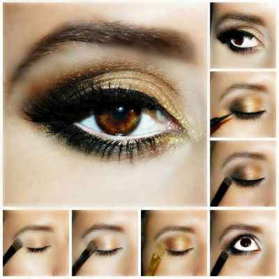 Вечерний макияж на карие глаза фото пошагово в