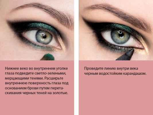 Дымчатый макияж зеленых глаз глаза