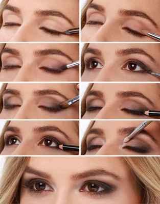 Макияж для увеличения карих глаз с нависшим веком